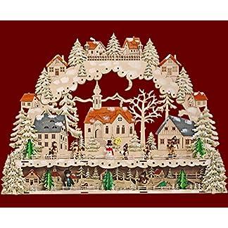 XL-LED-Schwibbogen-Lichterbogen-Leuchter-Kirche-Kinder-Schneemann-aus-Holz-mit-Podest-Unterstellbank-ca-64-cm-breit-inklusive-Trafo-Weihnachten-Advent-Geschenk-93553