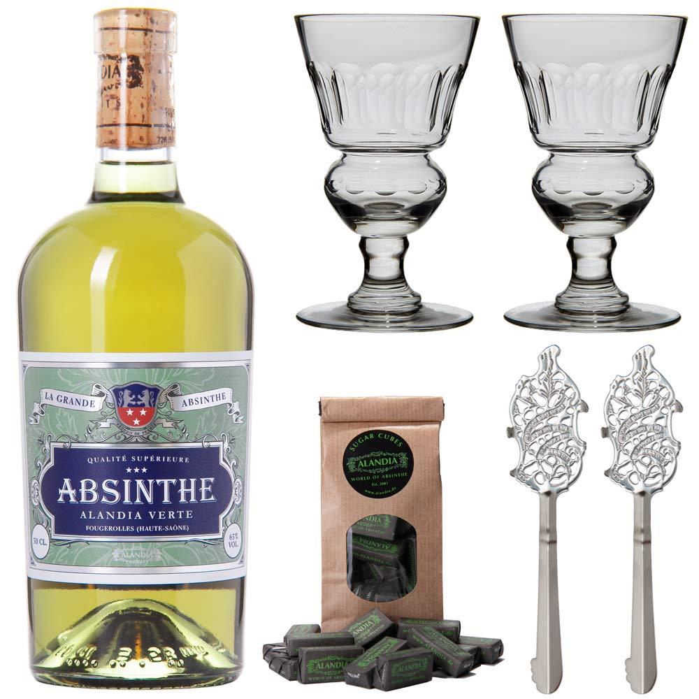 Absinth-Set-ALANDIA-Verte-Original-grner-Absinth-mit-traditionellem-19-Jh-Rezept-2x-Absinth-Glser-2x-Absinth-Lffel-1x-Absinth-Zuckerwrfel-1x-05-l