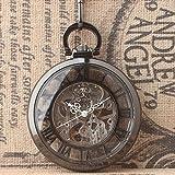 QB-Pocket-watches-Tungsten-Stahl-schwarz-transparent-Abdeckung-mechanische-Taschenuhr-rmische-Ziffer-Rad-hngen-Liste-mnnlichen-und-weiblichen-Studenten-Tisch