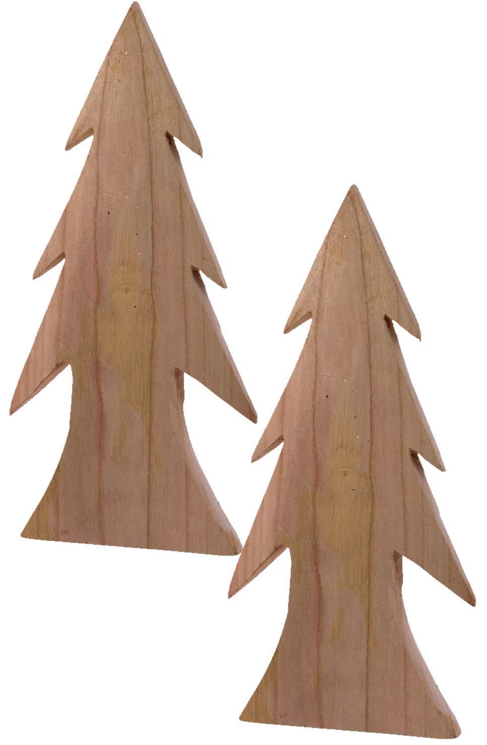 LS-LebenStil-2X-XL-Design-Deko-Holz-Weihnachtsbaum-Set-33cm-Braun-Tannenbaum-Holz-Baum-X-Mas