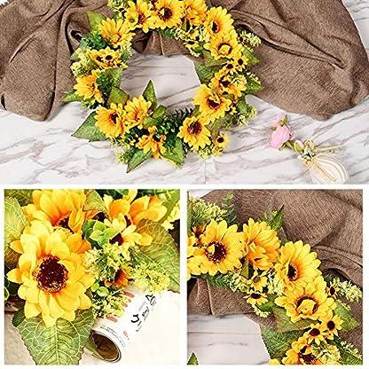 Kranz-Deko-Trkranz-Sonnenblumen-Girlande-Dekoration-Mit-Rattan-Design-Knstliche-Wandkranz-45cm-Fr-Halloween-Ostern-Weihnachten-Thanksgiving