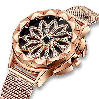Damenuhren-Damen-Wasserdichte-Rosgold-Mesh-Uhr-Einzigartiges-Design-Analoge-Quarz-Armbanduhren-fr-Frauen-Edelstahlband-Luxus-Business-Kleid-Uhren-mit-Drehendes-Diamant-Zifferblatt