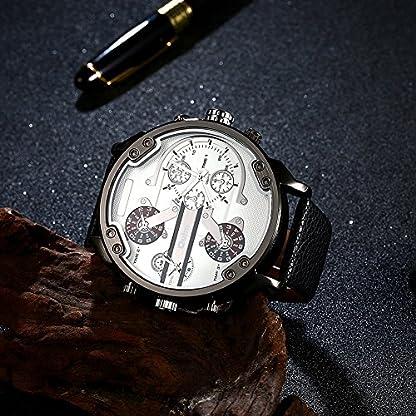 iLove-EU-Herren-Armbanduhr-Japanisches-Quarz-Analog-Vier-Bewegung-4-Zeitzonen-Luxus-Uhr-mit-Wei-Zifferblatt-und-Schwarz-Leder-Armband