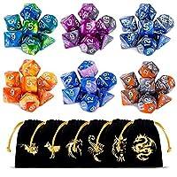 CiaraQ-Polyedrische-Wrfel-6-x-7-42-Stck-Doppel-Farben-Tisch-Spiel-Wrfel-fr-RPG-Dungeons-und-Dragons-Pathfinder-mit-Gold-Muster-Beutel-DND-RPG-MTG-D20-D12-D10-D8-D6-D4