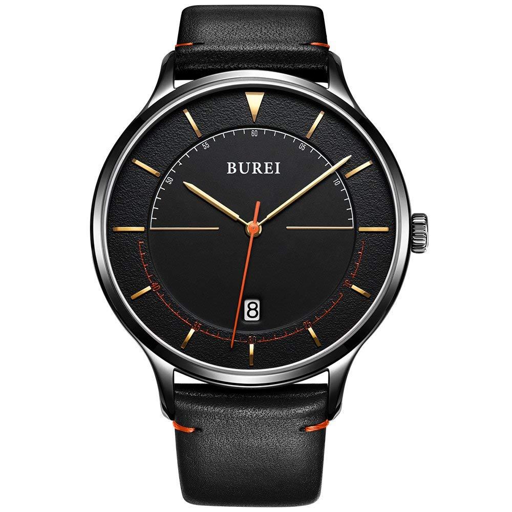 BUREI-Ultradnne-minimalistische-Uhren-im-Unisex-Stil-mit-groem-Zifferblatt-mit-Kalanderleder-aus-Kalbsleder