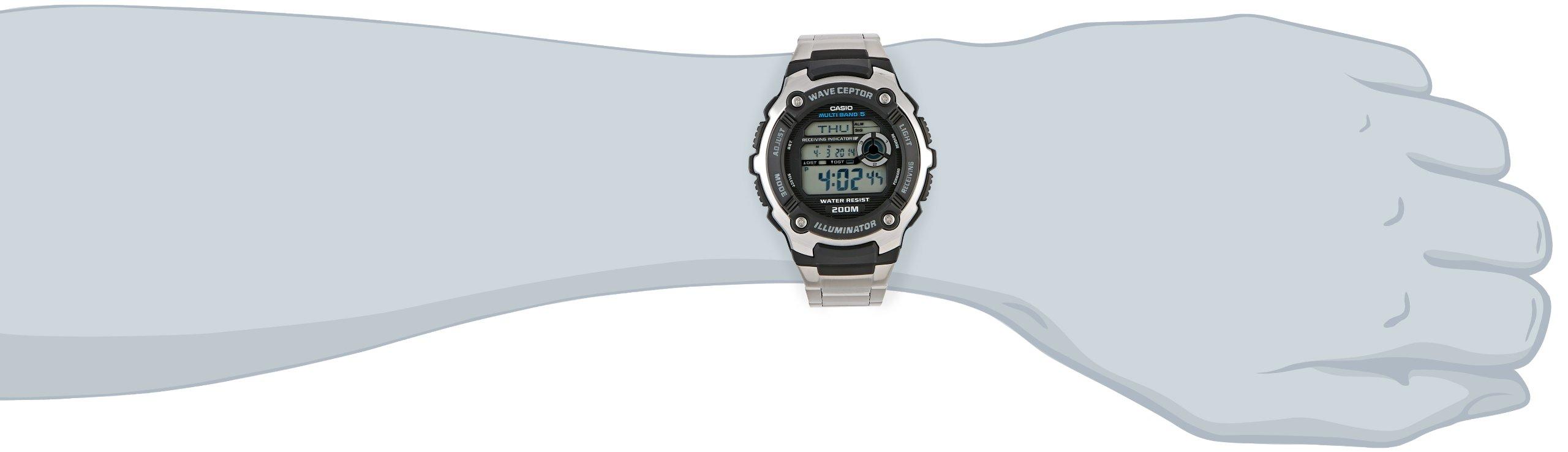 Casio-Wave-Ceptor-Herrenarmbanduhr-WV-200DE-1AVER-Funkuhr-schwarz-massives-Edelstahlarmband