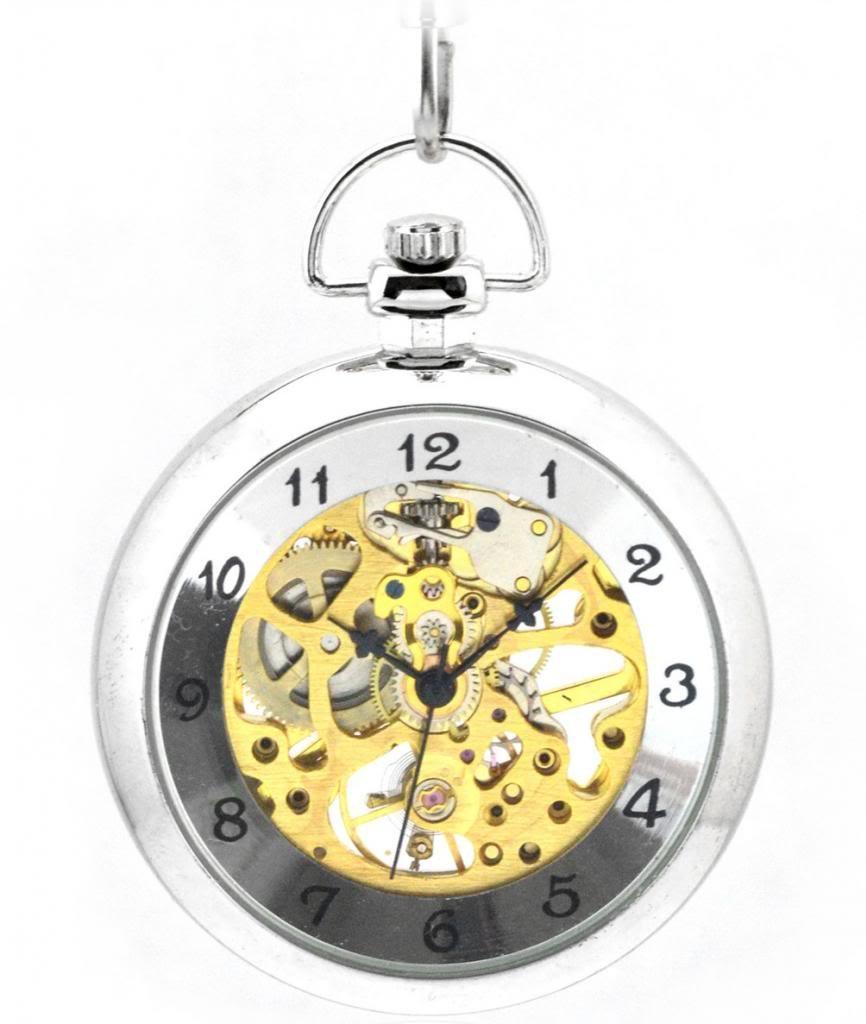 Unendlich-U-Fashion-Retro-Handaufzug-Mechanische-Taschenuhr-Polierte-Hohle-Skelett-Kettenuhr-Ohne-Deckel-Pullover-Halskette-Silber