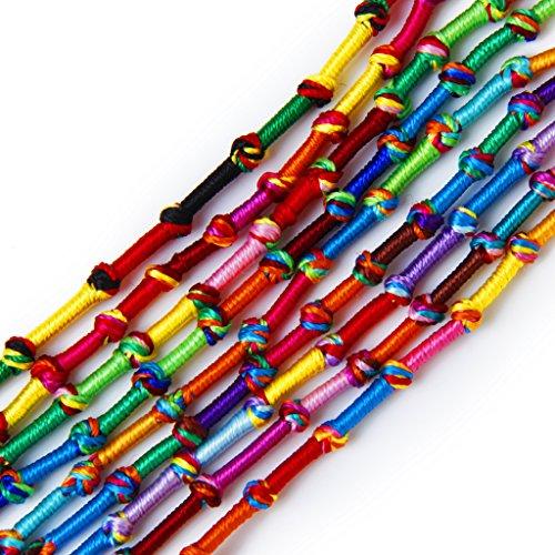 9 Stk. Bunte Handmade Geflochtene Thema Freundschaftsbänder Knöchel-Armband Hippie # 3 (zufällige Farbe)