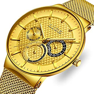 Herrenuhren-Wasserdichte-Edelstahl-Minimalistische-Uhr-Elegante-Lssig-Uhren-Analog-Quarz-Milanese-Armband-Uhren-Business-Mode-LIGE-Luxus-Armbanduhr-Gold-fr-Mnner-Geschenk