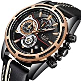 Herren-Uhren-Chronograph-Wasserdichte-Edelstahl-Black-Uhr-Mann-Luxus-Marke-LIGE-Sport-Mode-Armbanduhr-Analog-Quarz-Business-Casual-Leder-Uhr-Gold