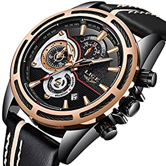 Herren-Uhren-Chronograph-Wasserdichte-Edelstahl-Black-Uhr-Mann-Luxus-Marke-LIGE-Sport-Mode-Armbanduhr-Analog-Quarz-Business-Casual-Leder-Uhr-Gold