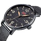 Uhren-Herrenmode-Wasserdichte-Uhr-Ultradnne-Edelstahl-Analog-Quarz-Uhren-Datum-mit-Datum-Schwarz-Mesh-Band