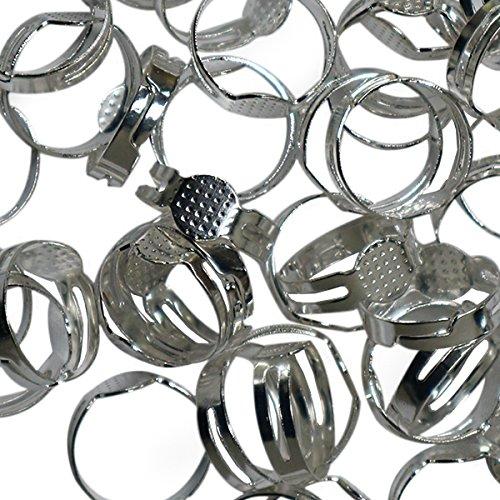 Einstellbar Ringrohlinge – 80 teiliges Metall-Ringe Rohlinge Set für Basteln,Herstellen von Schmuck,Handgemachte Ringe – Ringrohlinge silber mit Kleber inklusive zum Anbringen von Edelsteinen und Perl