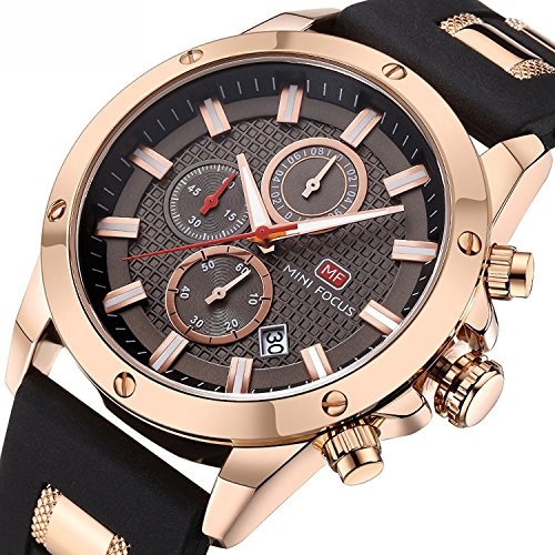 Herren-Chronograph-Analoge-Quarz-Armbanduhr-Rose-Gold-farbig-mit-Gummi-Armband-wasserdicht-Sport-Armband