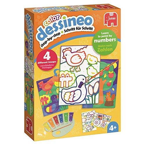 Jumbo-Spiele-18623-Dessineo-Color-Malen-nach-Zahlen-Bauernhof-Kinderspiel-Keine