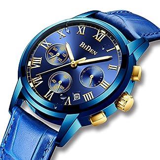 Herren-Uhren-Leder-Mnner-Chronograph-Wasserdicht-Leuchtende-Luxus-Sportuhr-Datums-Kalender-Multifunktional-Analog-Quarz-Armbanduhr-Geschfts-Kleid-beilufige-Uhren-fr-Mnner-Blau