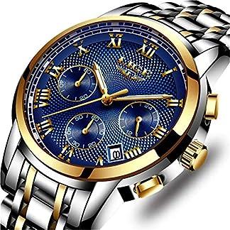 LIGE-Herren-Uhren-Sport-Wasserdicht-Edelstahl-Analoger-Quarz-Uhr-Lssig-Chronograph-Kalender-Armbanduhr-Maenner