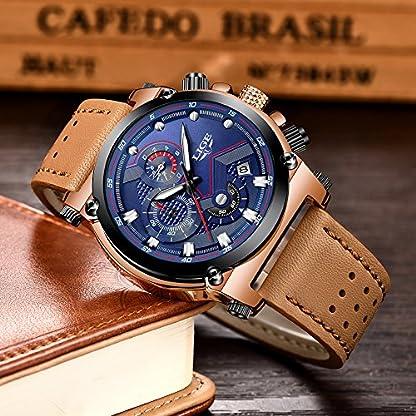 Uhren-fr-HerrenLIGE-Chronograph-Wasserdicht-Militr-Sport-Analog-Quarzuhr-Herren-Braun-Lederband-Groes-Gesicht-Datum-Mode-Casual-Luxus-Armbanduhren-Rosgold-Blau