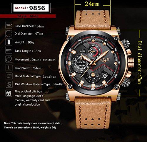 Herrenarm-Uhr-Edelstahl-Banduhr-Rosgold-Brauner-Ledergrtel-Mode-uhren-Herren-accessoires-Quarz-Multifunktionsuhr-Armbanduhr-Mann-Wasserdicht-Design-Geschfts-Beilufig-Stoppuhr