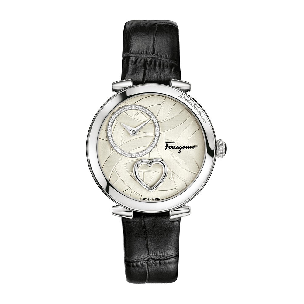 Salvatore-Ferragamo-Cuore-Damen-Quarz-Patentierte-Uhr-mit-silbernem-Textur-Zifferblatt-mit-Herz-und-schwarzem-Lederband-FE2990016