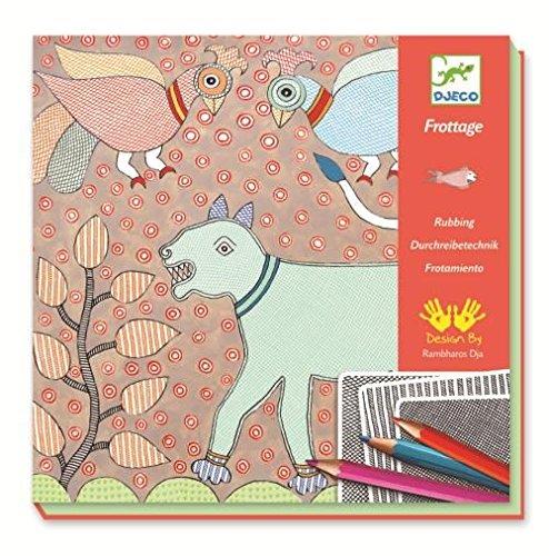 Djeco-Kreativ-Set-Durchreibetechnik-Mithila-Tiere