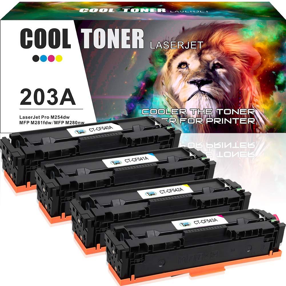 Cool-Toner-4-Pack-Kompatibel-fr-HP-203A-Toner-203X-CF540X-CF540A-CF541A-CF542A-CF543A-fr-HP-Color-Laserjet-Pro-MFP-M281fdw-M254dw-MFP-M280nw-HP-M281-M254-M280-M281fdn-M281cdw