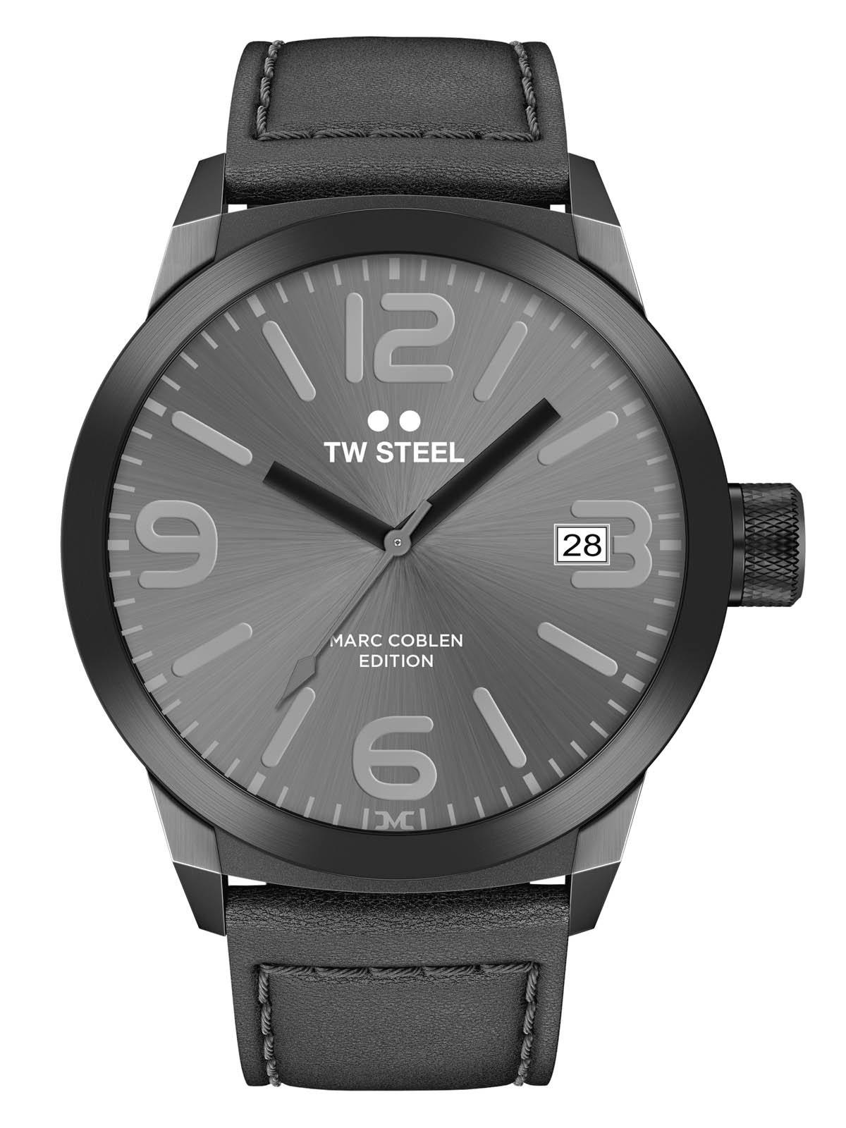 TW-Steel-Marc-Coblen-Edition-mit-Lederband-und-Datum-Edelstahl-Quarz-45-MM