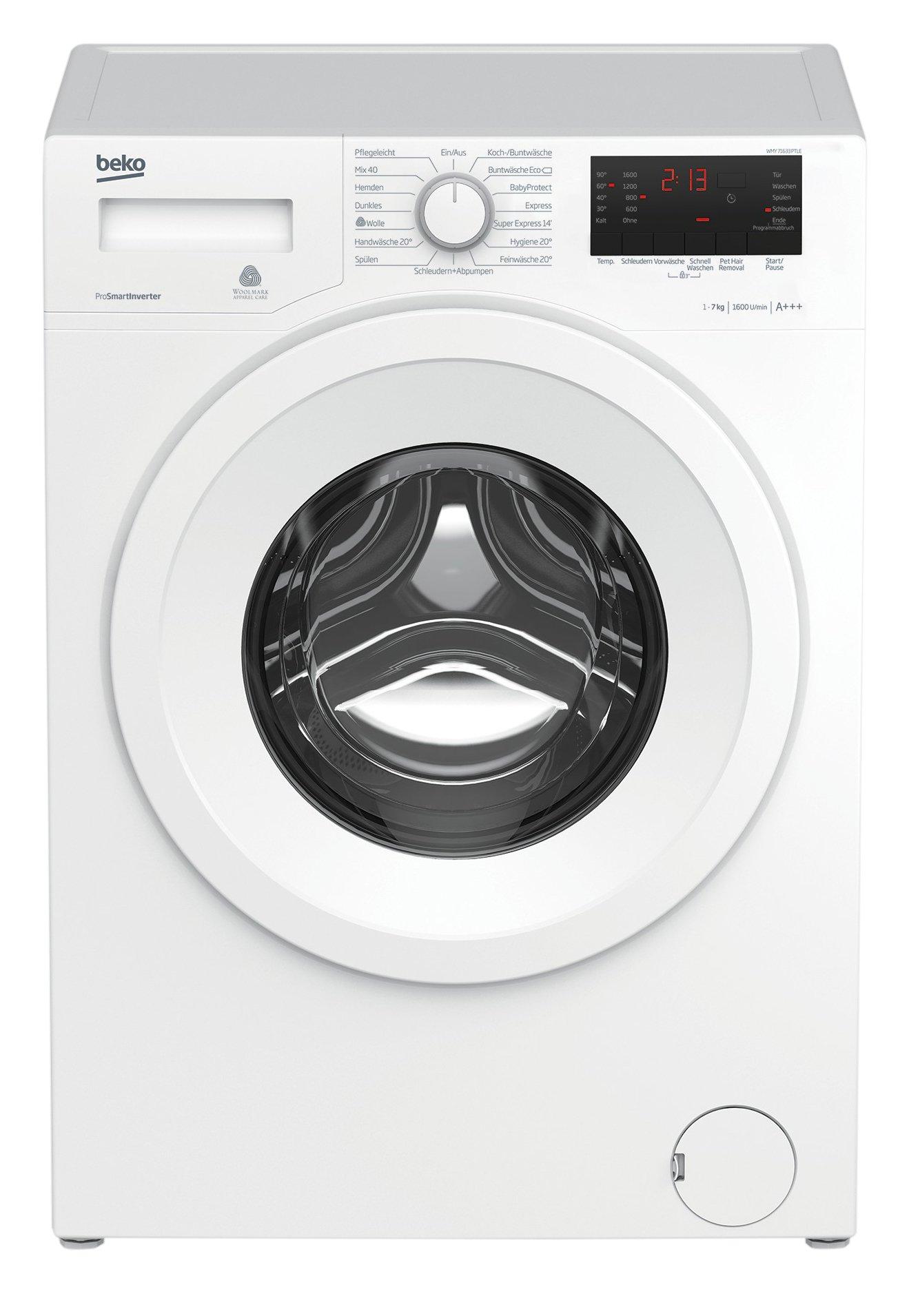 Beko-WMY-71633-PTLE-Waschmaschine-A-1600UpM-Schnellwaschen-wei-15-Programme-Baby-Protect-Waschen-Kindersicherung-Mengenautomatik-Pet-Hair-Removal-ProSmart-Inverter-Motor-Watersafe
