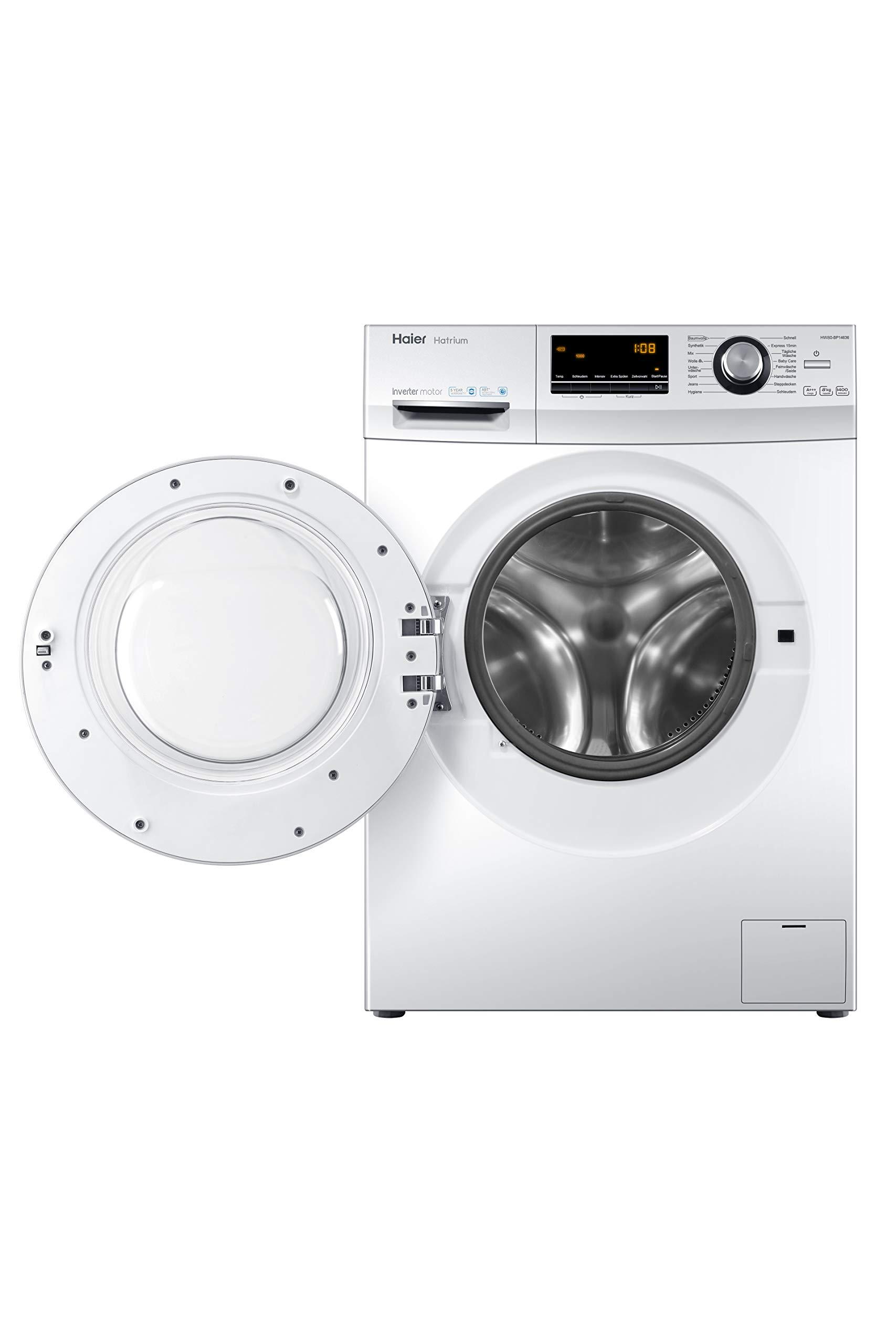 Haier-HW80-BP14636-Waschmaschine-Frontlader-A-8-kg-1400-UpM-Vollwasserschutz-Wei