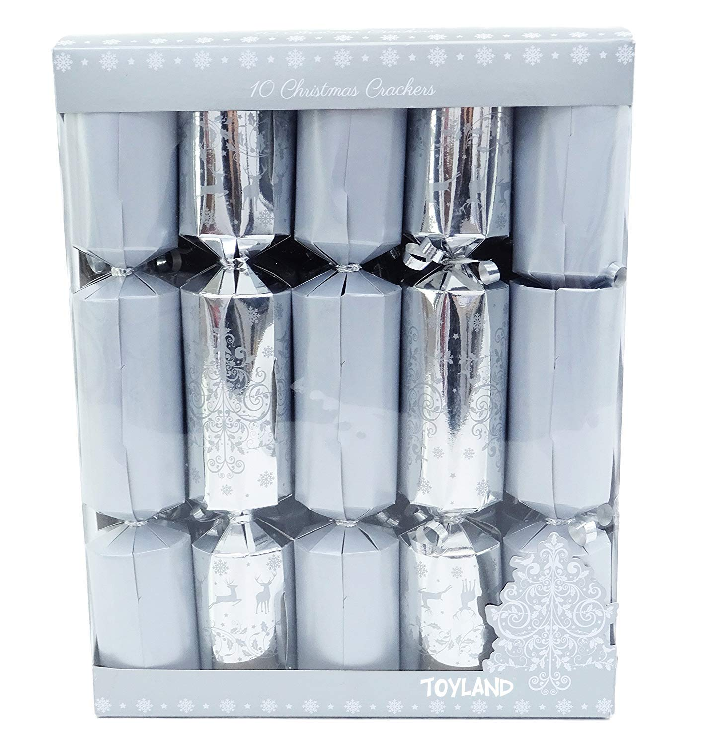 10-Deluxe-Silver-Christmas-Crackers-5-Plain-5-Christmas-Tree-Design