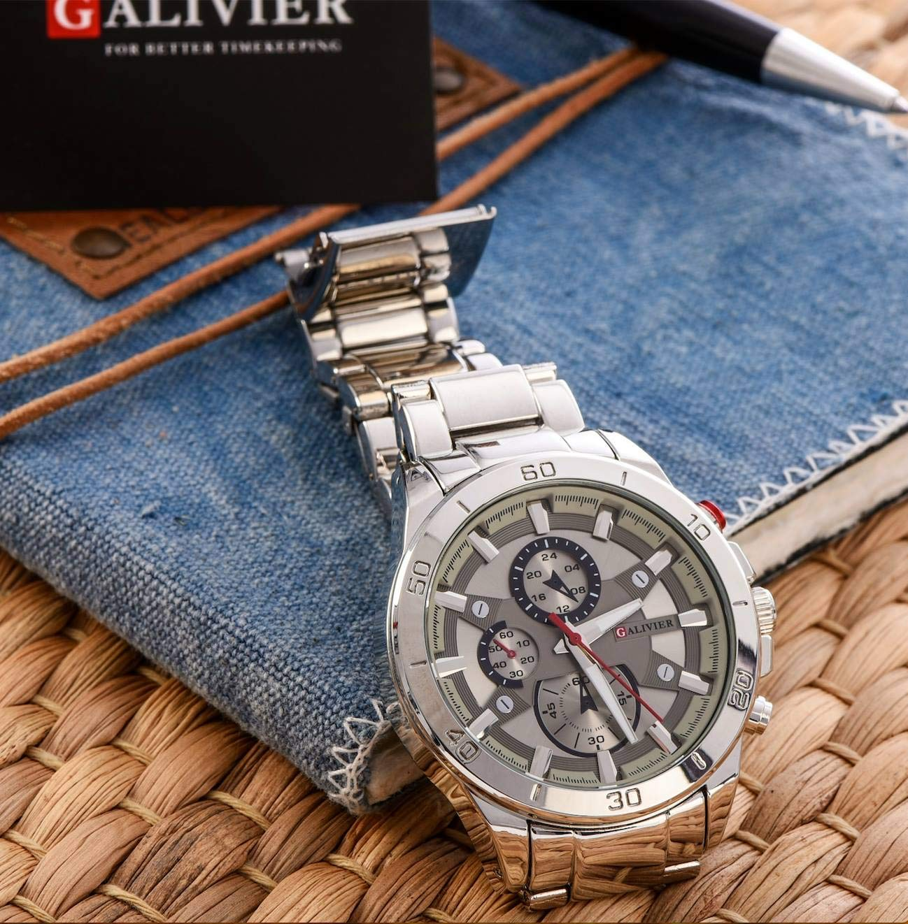 Galivier-Armbanduhr-Mnner–Swiss-Design-Edle-Herrenuhr-Wasserdicht-Quarz-Herrenuhr-Analog–Designer-Armbanduhr-mit-Klassischem-Edelstahlband