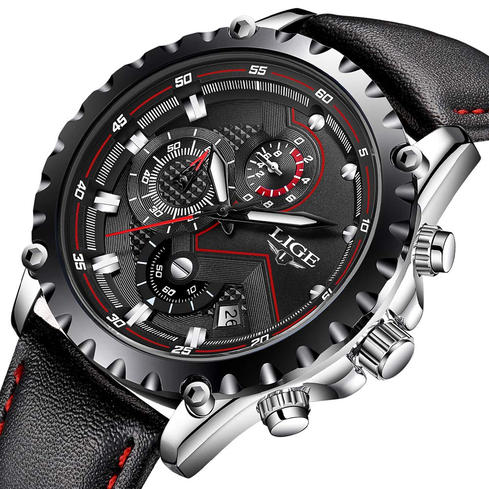 LIGE-Wasserdichte-Sport-Herren-Uhren-Mode-groe-Zifferblatt-Analog-Quarzuhr-Mnner-schwarz-Leder-Armbanduhren
