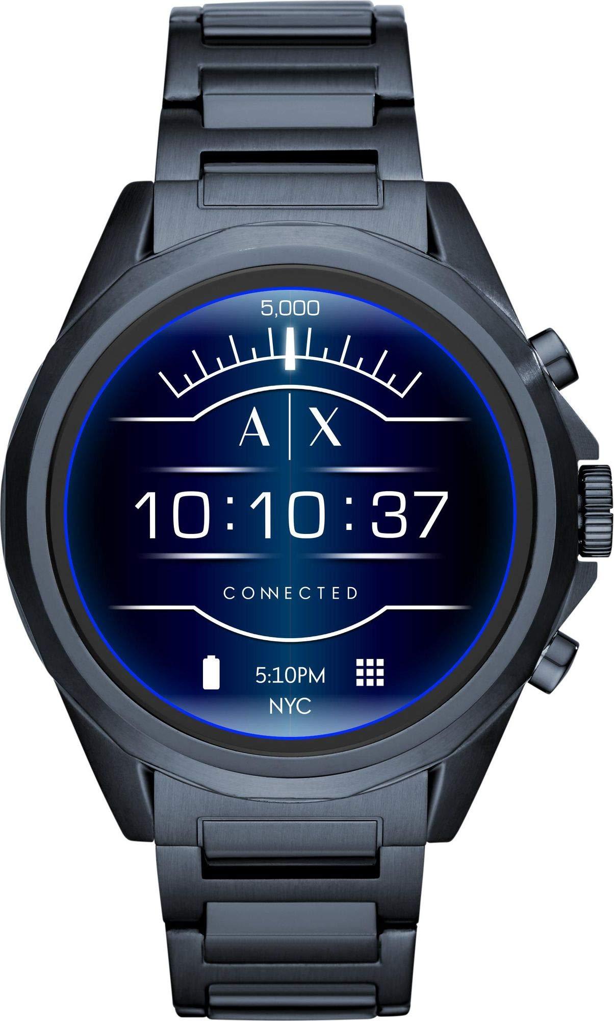 Armani-Exchange-Herren-Smartwatch-mit-Edelstahl-Armband-AXT2003