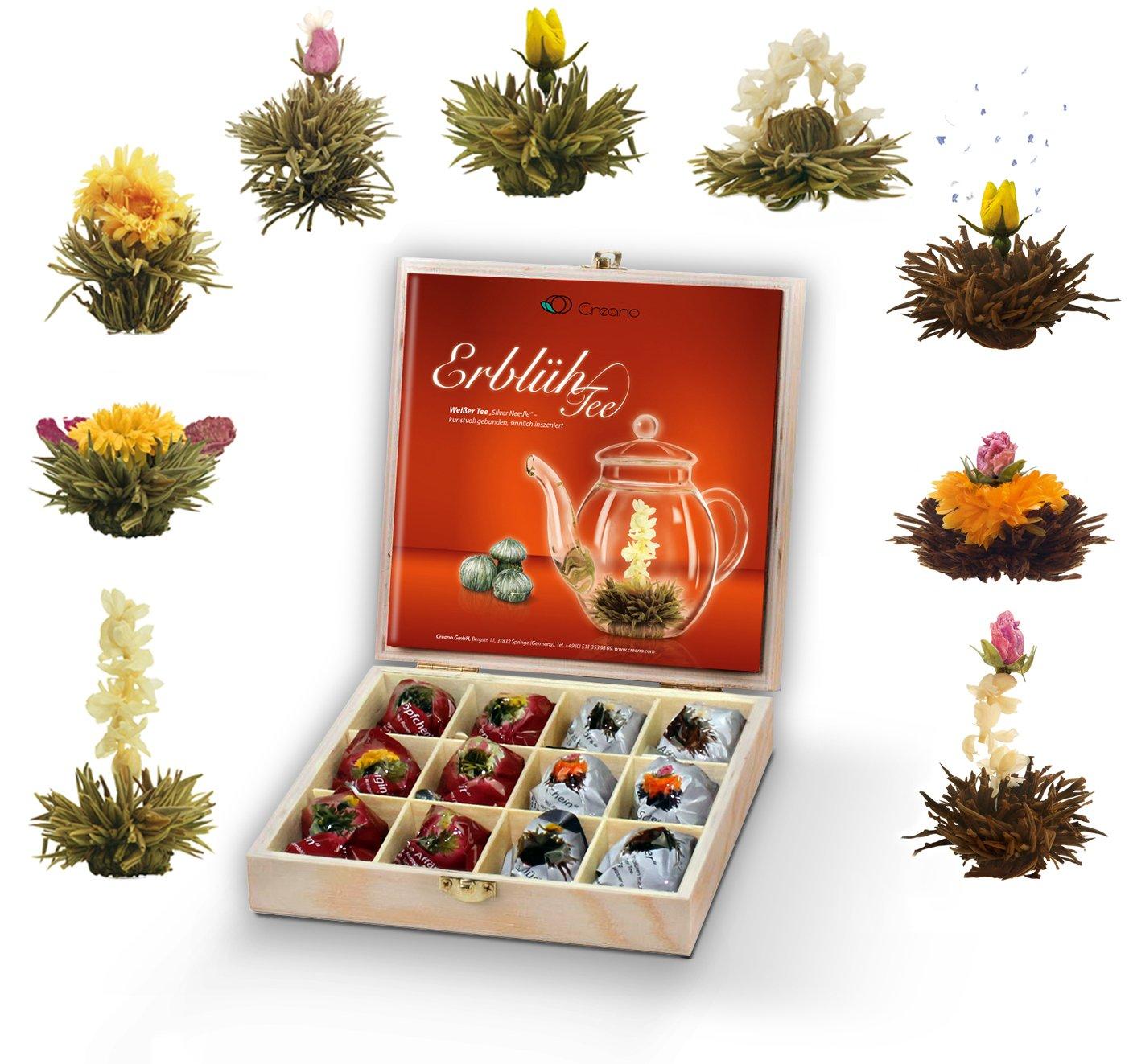Creano-Teeblumen-Geschenkset-in-Teekiste-aus-Holz-12-ErblhTee-in-9-Sorten-Weitee-Schwarztee