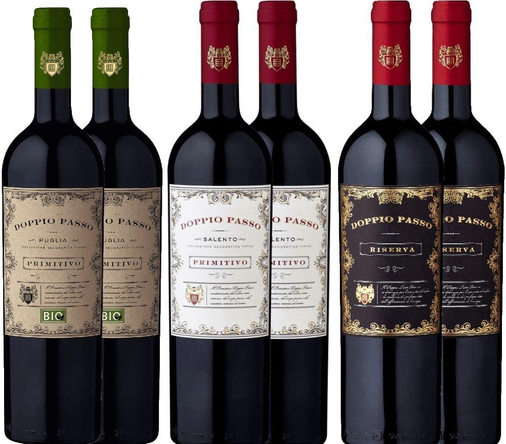 6er-Probierpaket-Doppio-Passo-Primitivo-Salento-Riserva-Bio-italienischer-Rotwein-aus-Apulien-6-x-075-Liter