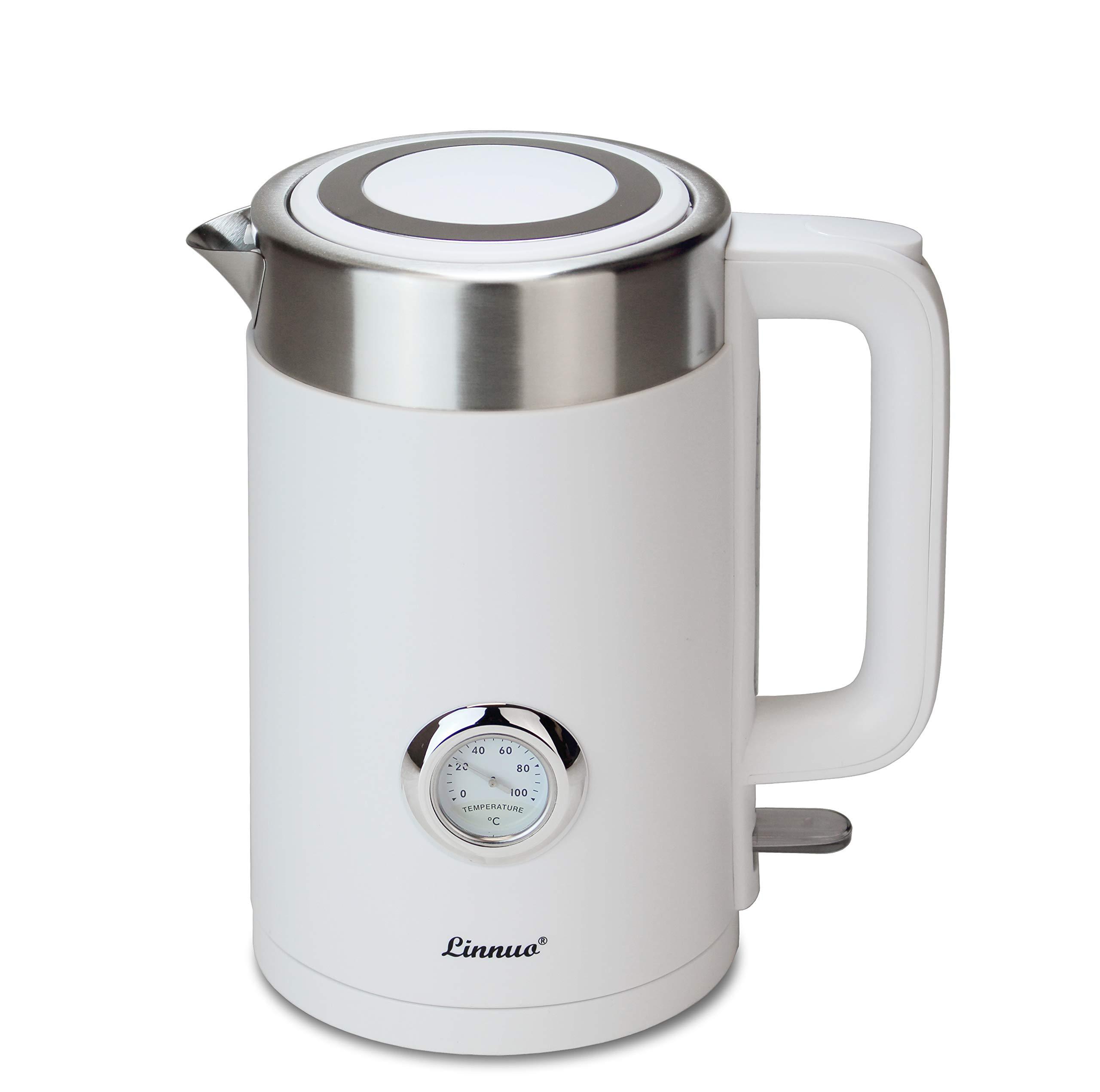 Linnuo-Wasserkocher-Edelstahl-2200-W-17-Liter-mit-Temperaturanzeige-wrmeisoliertes-Doppelwand-Gehuse-EdelstahlWei
