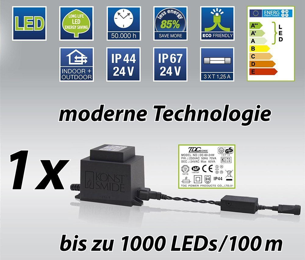 LED-Hightech-System-schwarzes-Kabel-24V