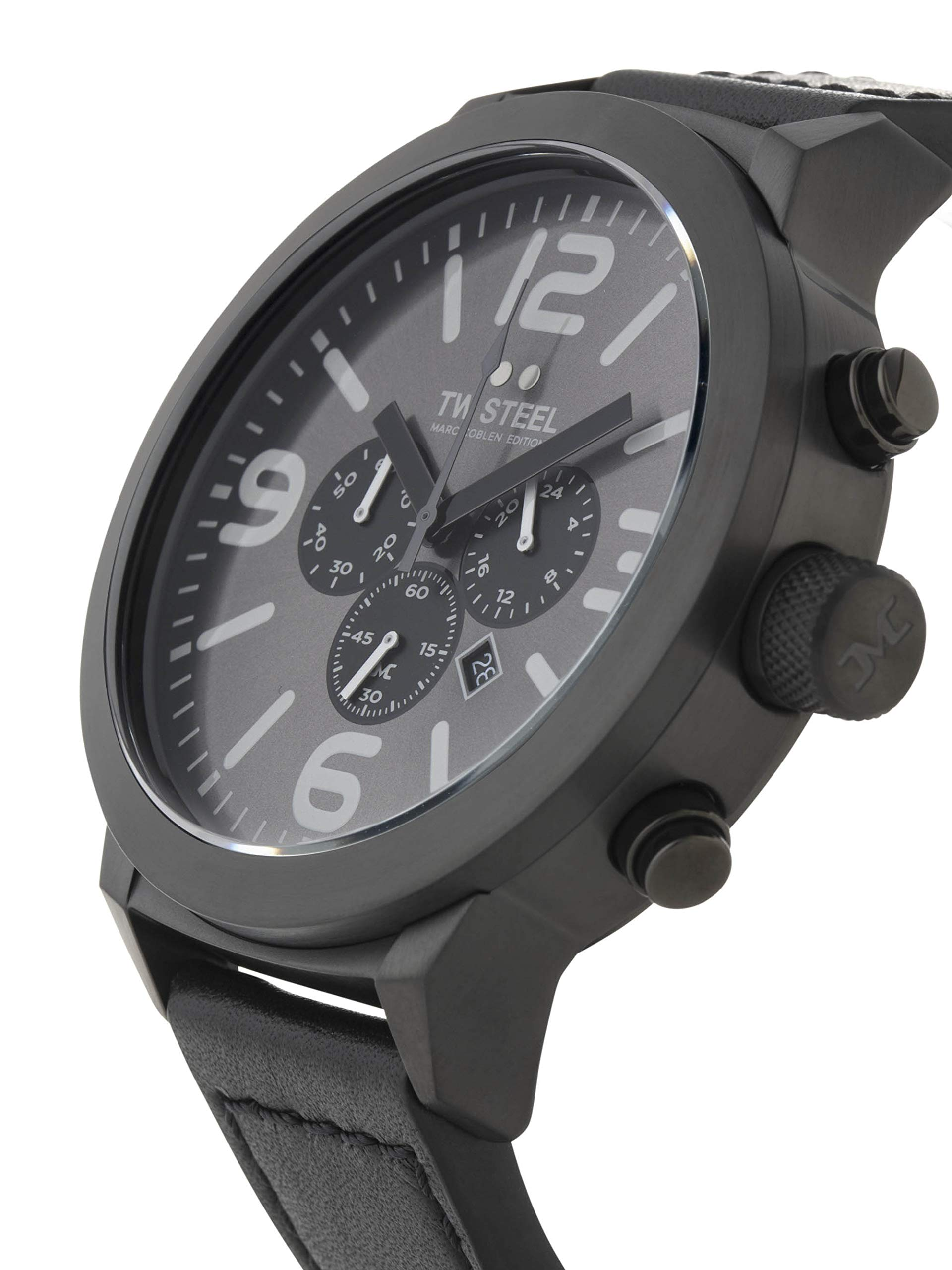 TW-Steel-Marc-Coblen-Edition-Chrono-mit-Lederband-und-Datum-Edelstahl-Stoppuhr-XXL-50-MM