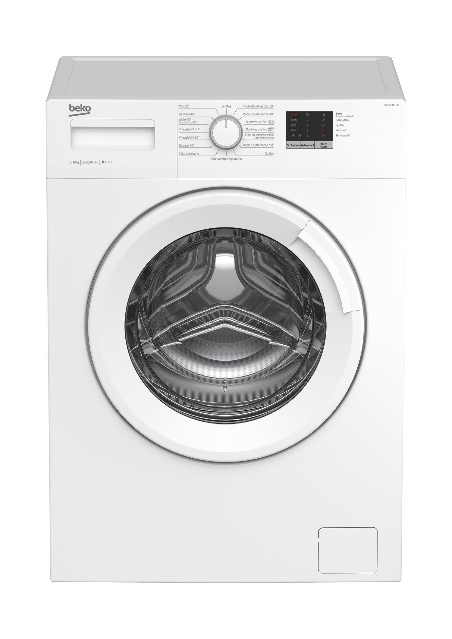 Beko-WML-61423-N-Waschmaschine-Frontlader-6kg-A-1400-UpM-Mengenautomatik-wei-15-Programme-Express-Programm-30-Minuten-elektronische-Kindersicherung