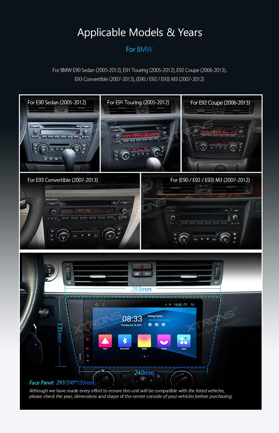 XTRONS-9-Android-Autoradio-mit-Touchscreen-Android-81-Quad-Core-DVD-Player-Autostereo-4G-Full-RCA-Ausgang-Bluetooth50-Lenkradfernbedienung-16GB-ROM-DAB-OBD2-TPMS-FR-BMW
