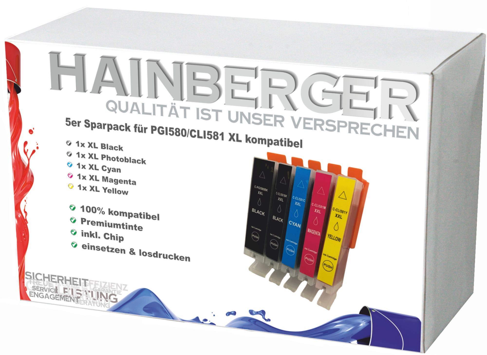 5X-Hainberger-XXL-Patronen-kompatibel-zu-Canon-PGI580-CLI581-Pixma-TR8550-TS6150-TS6151-TS6250-TS8150-TS8151-TS8152-TS8250-TS9150-TS9155-TS9550-TR7550-PGI-580-CLI-581