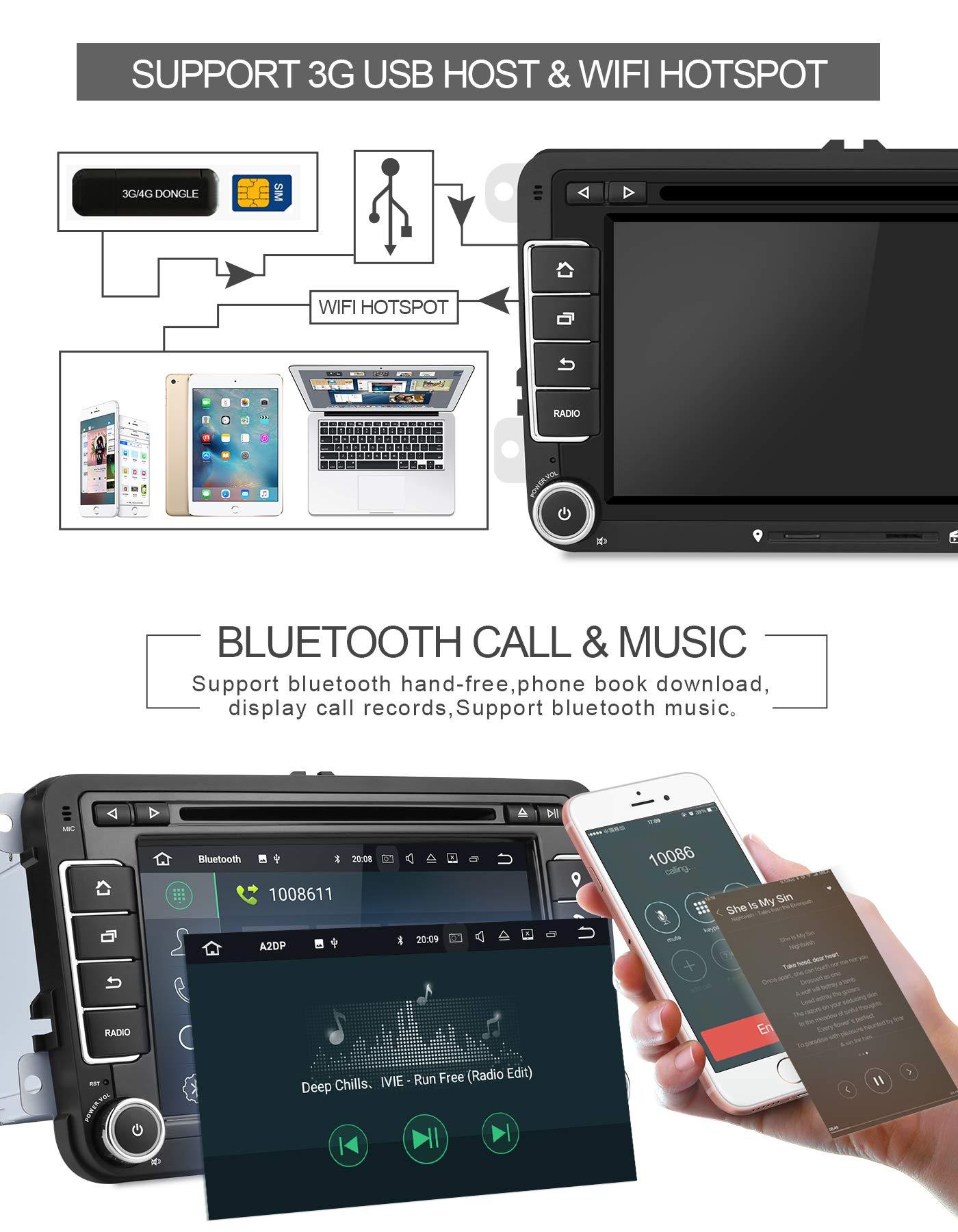 Aumume-7-Zoll-Android-90-Autoradio-fr-VW-Golf-Passat-Polo-Tiguan-Jetta-Skoda-Fabia-Yeti-Seat-mit-Navi-Untersttzt-Mirrorlink-Carplay-Bluetooth-DAB-mit-16-GB-Karte