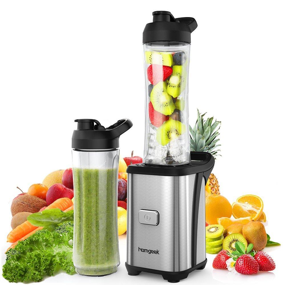 Homgeek-Smoothie-Maker-4-Edelstahlmesser-Mini-Blender-Mini-Standmixer-mit-2-600ml-Reise-Sport-Flaschen-BPA-freie-Tritan-Trinkflasche-350W