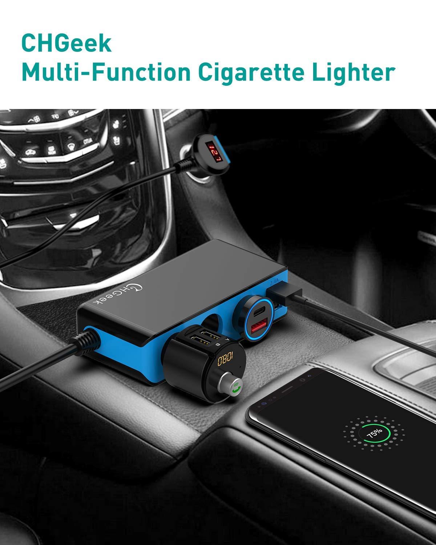 CHGeek-KFZ-Zigarettenanznder-Verteiler-Auto-Ladegert-Adapter-4-USB-Port-120W-USB-Auto-Adapter
