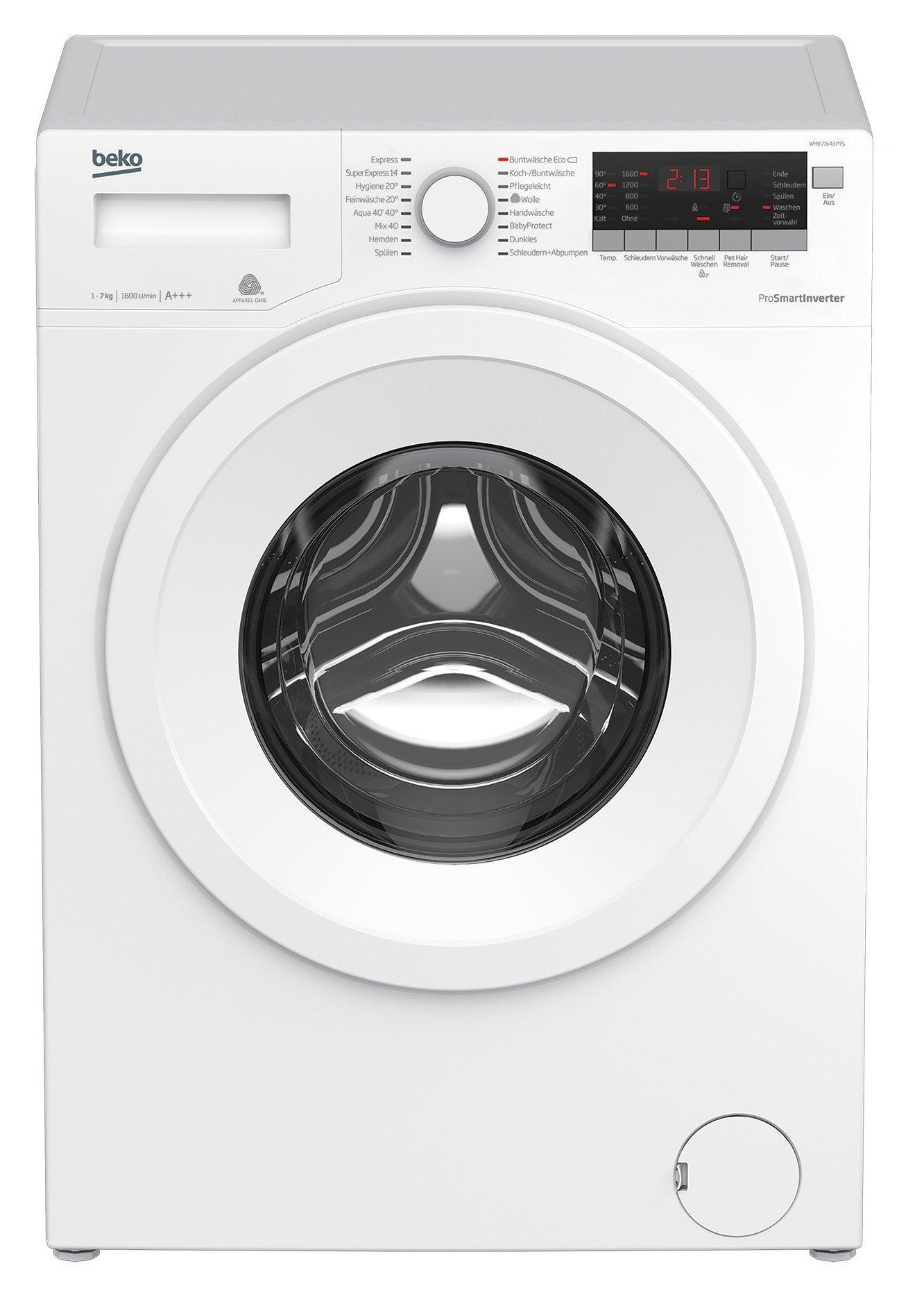 Beko-WMB-71643-PTS-Waschmaschine-FrontladerA1600UpMLED-Displaywei