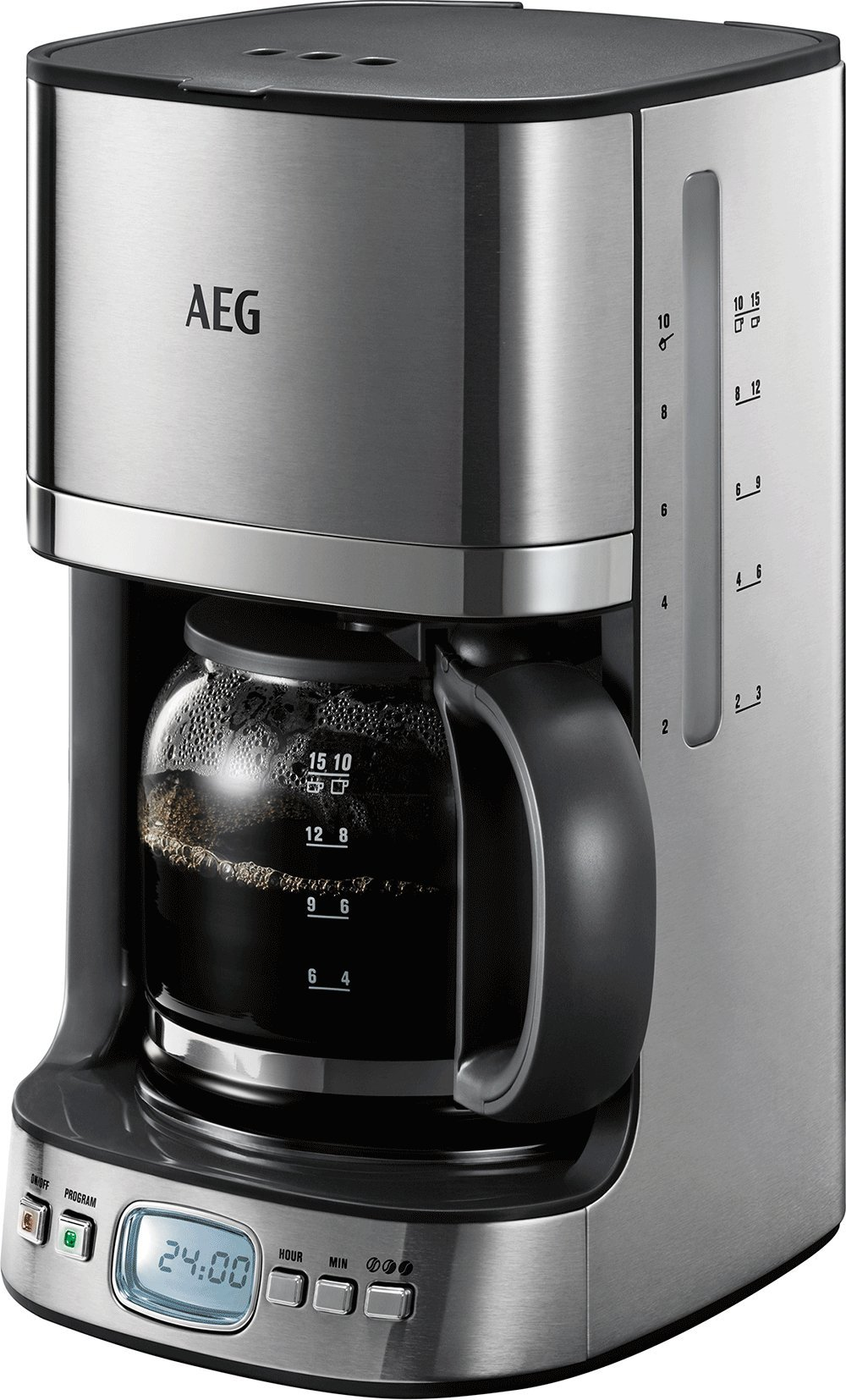 AEG-KF-7600-Kaffeemaschine-Programmierbarer-Timer-Aroma-Funktion-Permanentfilter-LCD-Display-Wasserstands-und-Kaffedosierungs-Anzeige-125-l-Sicherheitsabschaltung-gebrstetes-Edelstahl