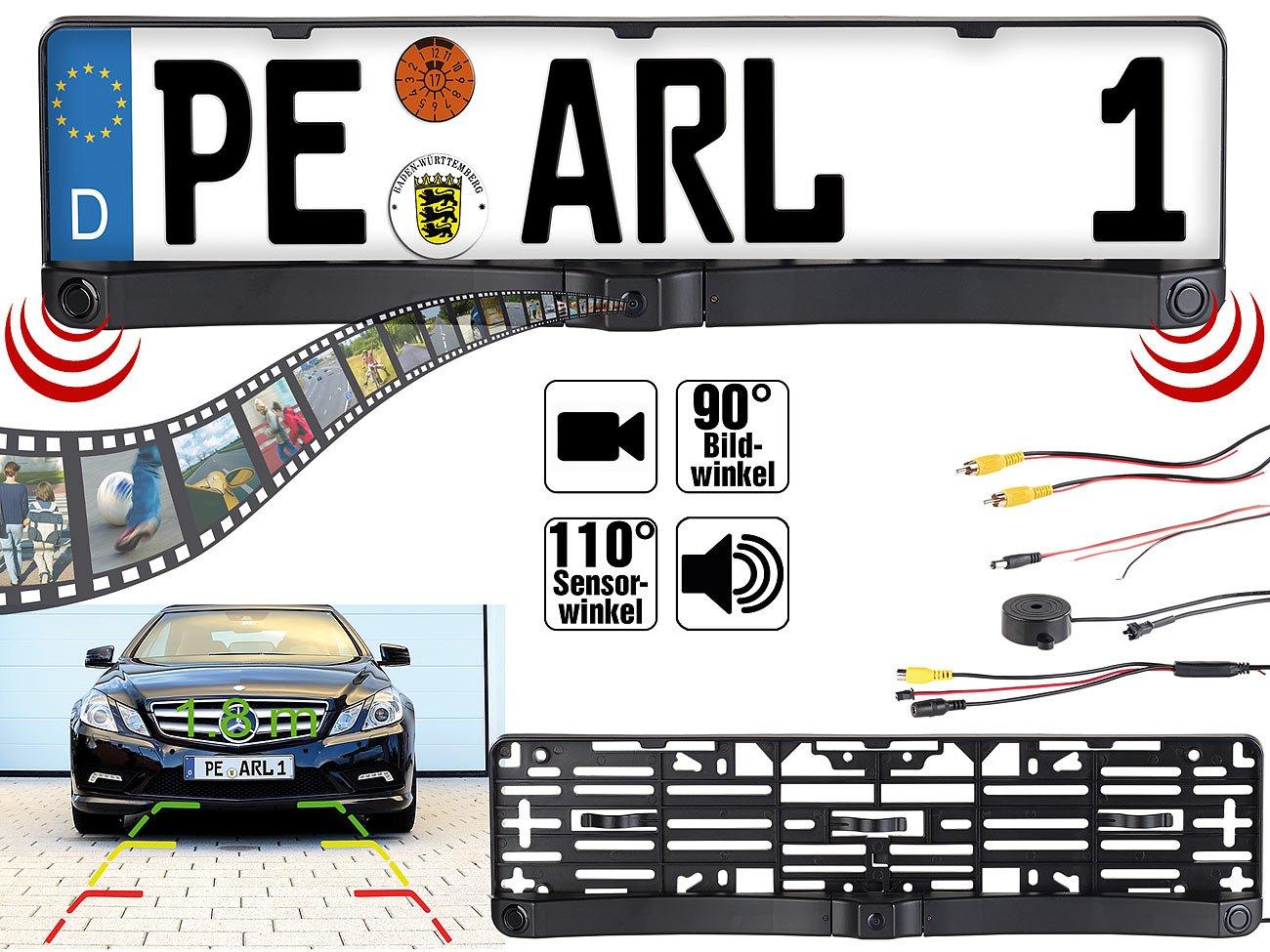 Lescars-Auto-Kamera-Rckfahrkamera-Einparkhilfe-mit-Abstandswarner-Nummernschildhalter-Einparkhilfe-Kennzeichen