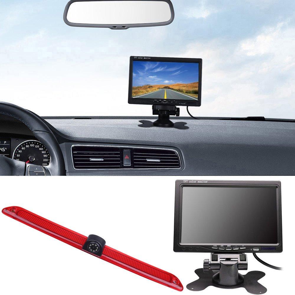Auto-Parksystem-Kit-43-TFT-LCD-Farbrckansicht-Monitor-Transporter-Rckfahrsystem-mit-Rckfahrkamera-im-3-Bremslicht-Bremsleuchte-passend-fr-Transporter-Mercedes-Sprinter-W906-Viano-Vito-Transit-Ducato-V