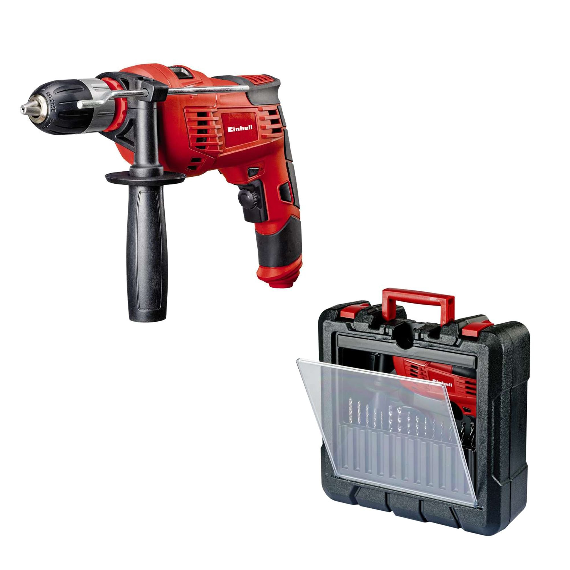 Einhell-Schlagbohrmaschine-TC-ID-1000-Kit-1010-W-1-Gang-Bohrleistung–Holz-32-mm–Metall-13-mm–Beton-16-mm-13-mm-Schnellspannbohrfutter-inkl-Koffer
