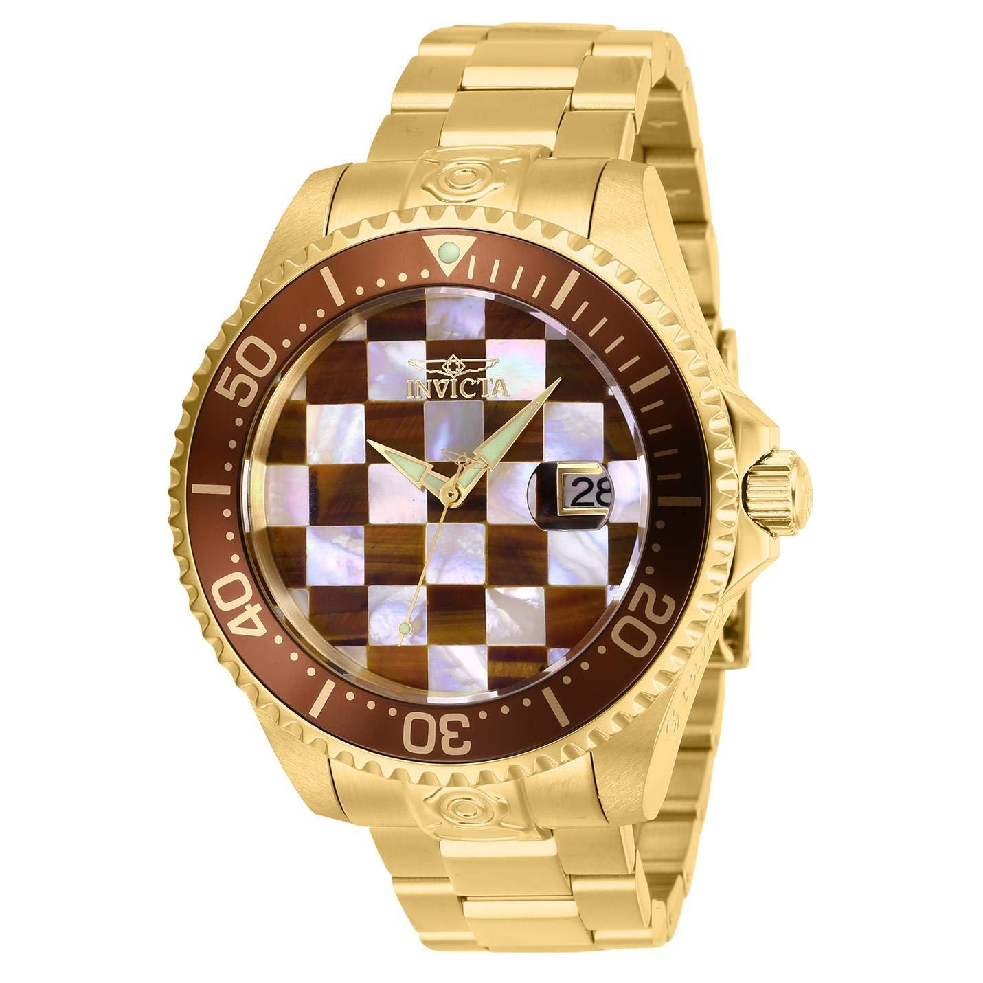 Invicta-Pro-Diver-Herren-Armbanduhr-Armband-Edelstahl-Gold-Automatik-27775